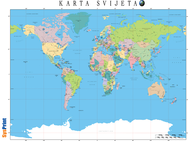 Geografska Karta Svijeta Prikaz Karta